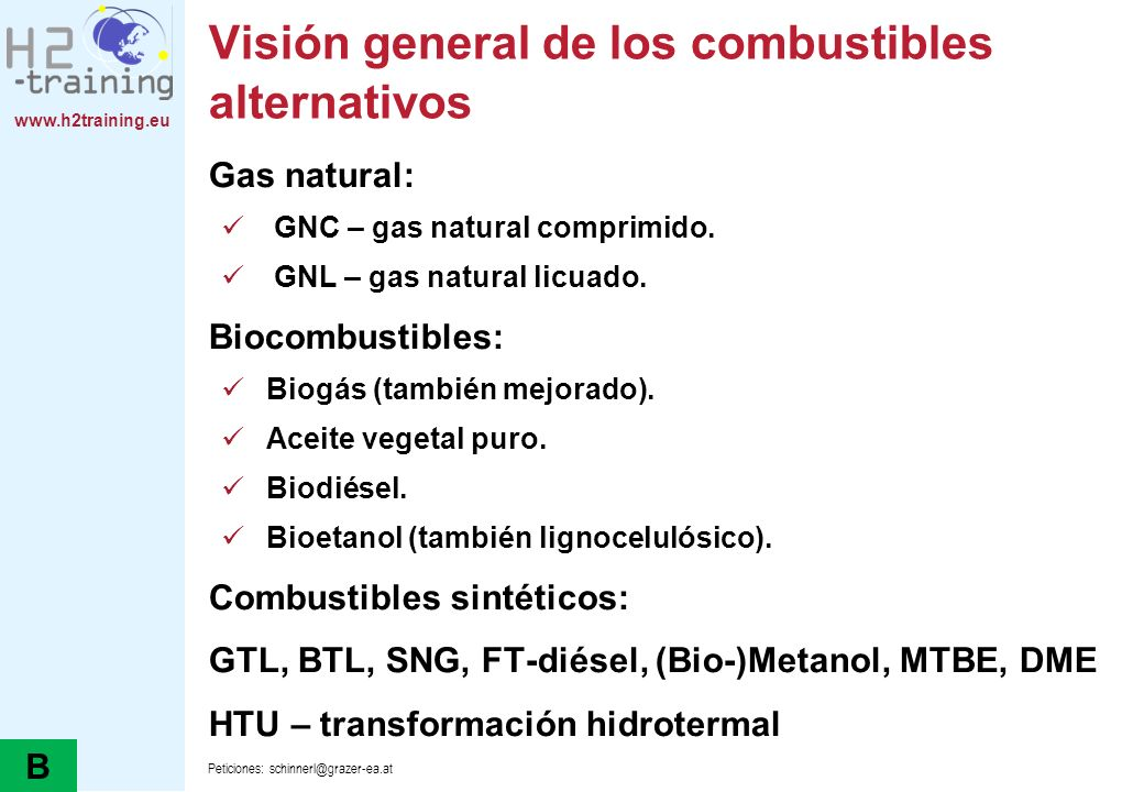 Visión general de los combustibles alternativos