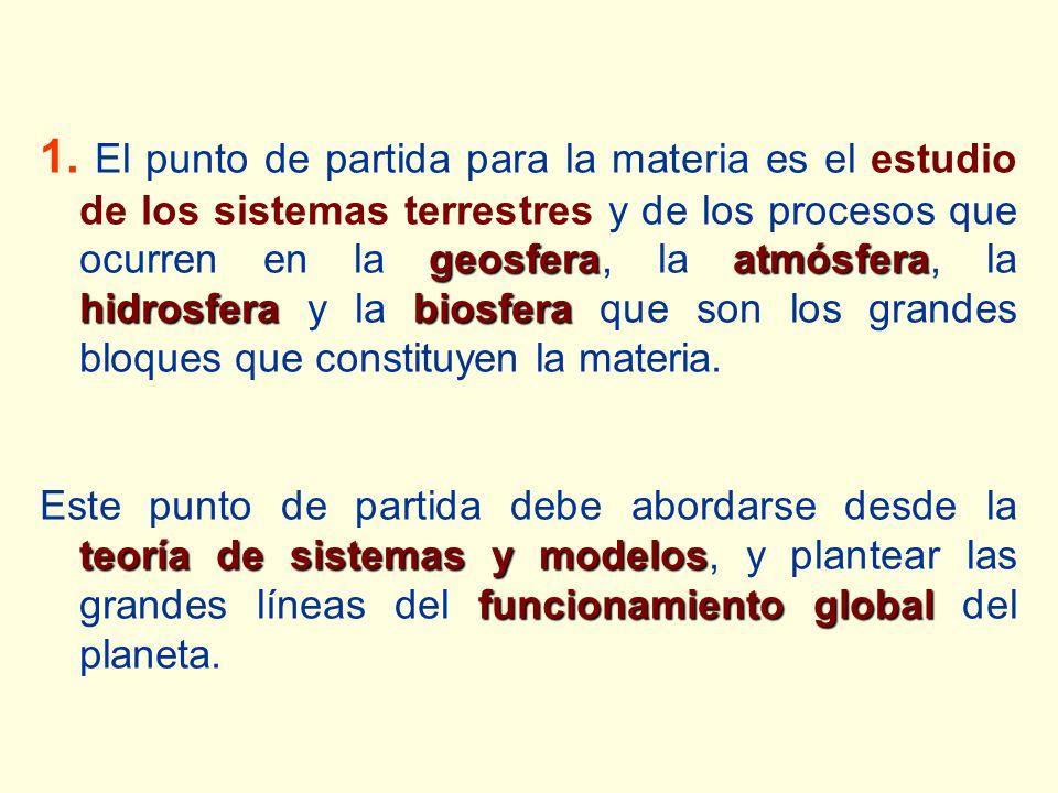 1. El punto de partida para la materia es el estudio de los sistemas terrestres y de los procesos que ocurren en la geosfera, la atmósfera, la hidrosfera y la biosfera que son los grandes bloques que constituyen la materia.