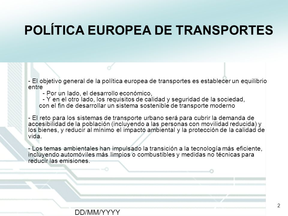 POLÍTICA EUROPEA DE TRANSPORTES