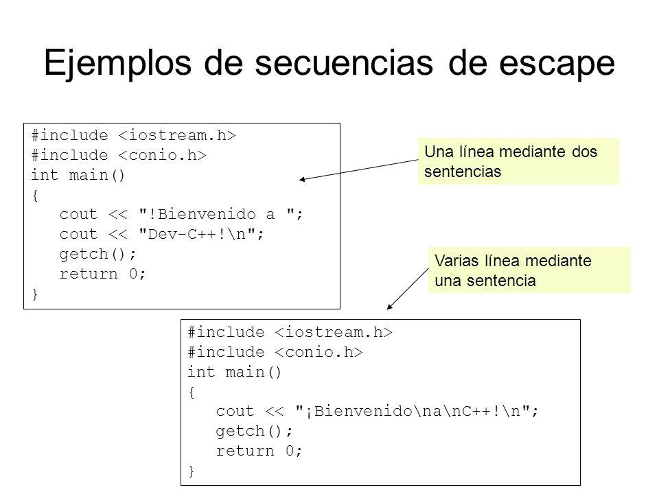 Ejemplos de secuencias de escape