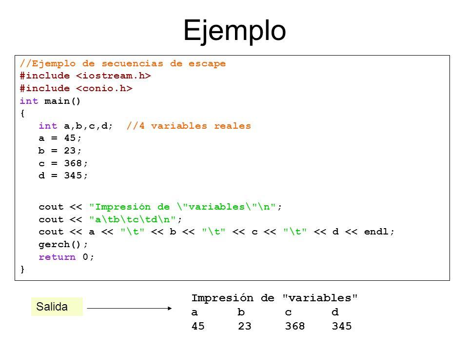 Ejemplo Impresión de variables a b c d 45 23 368 345 Salida