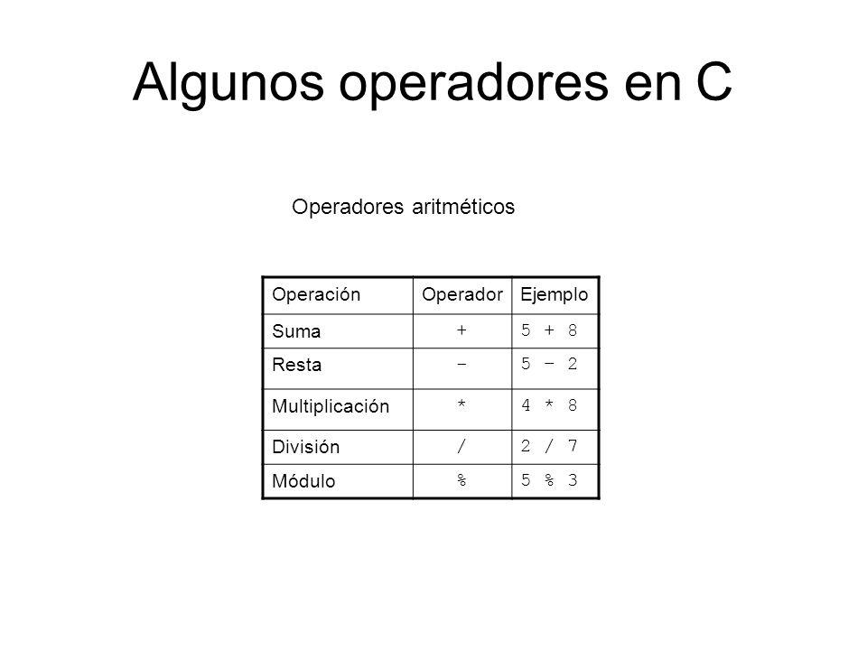 Algunos operadores en C