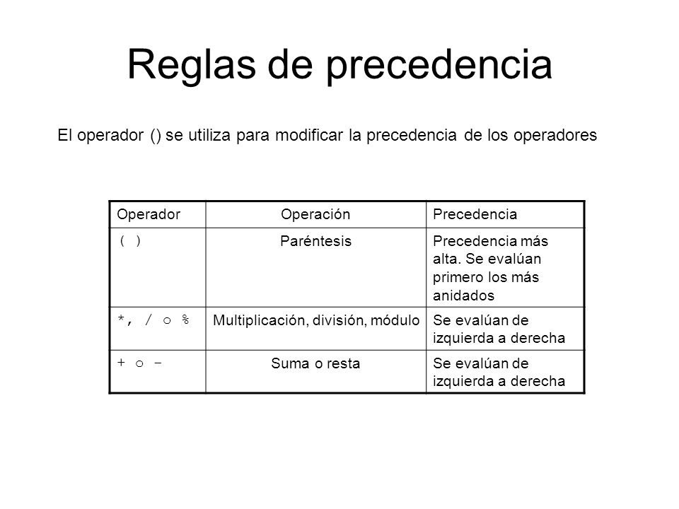 Multiplicación, división, módulo