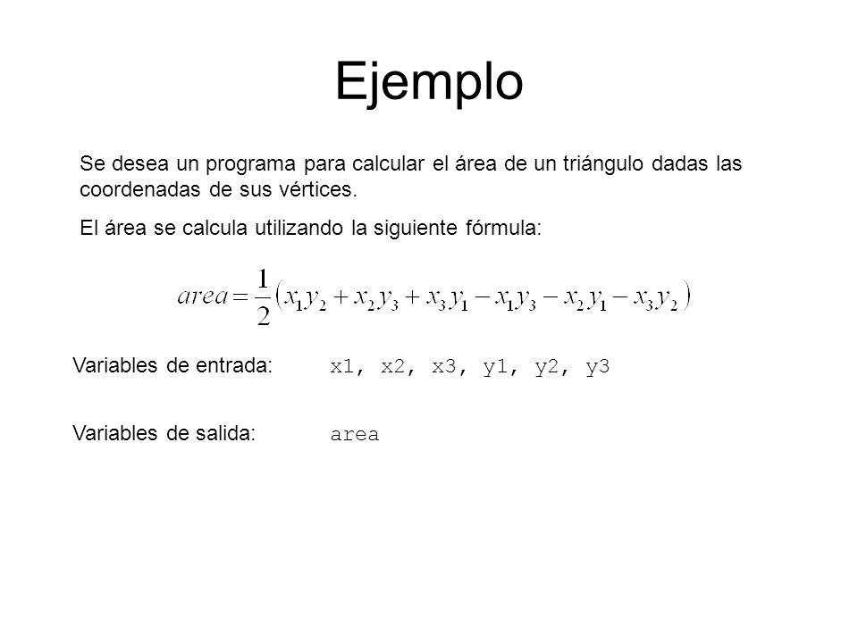 Ejemplo Se desea un programa para calcular el área de un triángulo dadas las coordenadas de sus vértices.