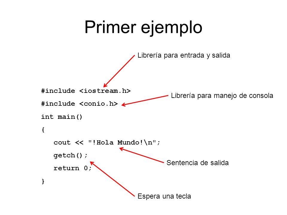 Primer ejemplo Librería para entrada y salida
