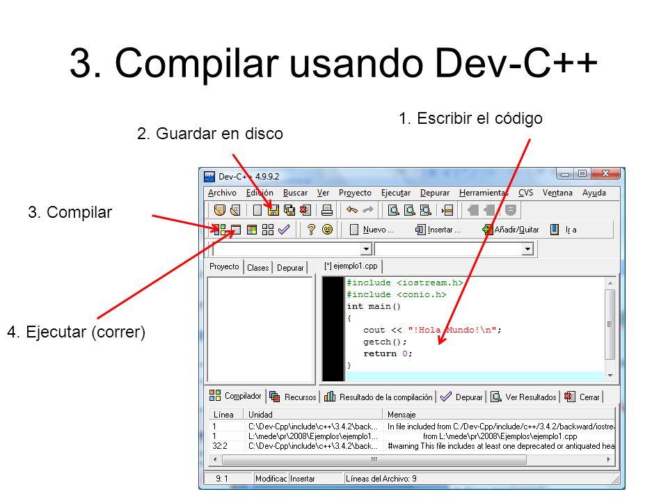 3. Compilar usando Dev-C++