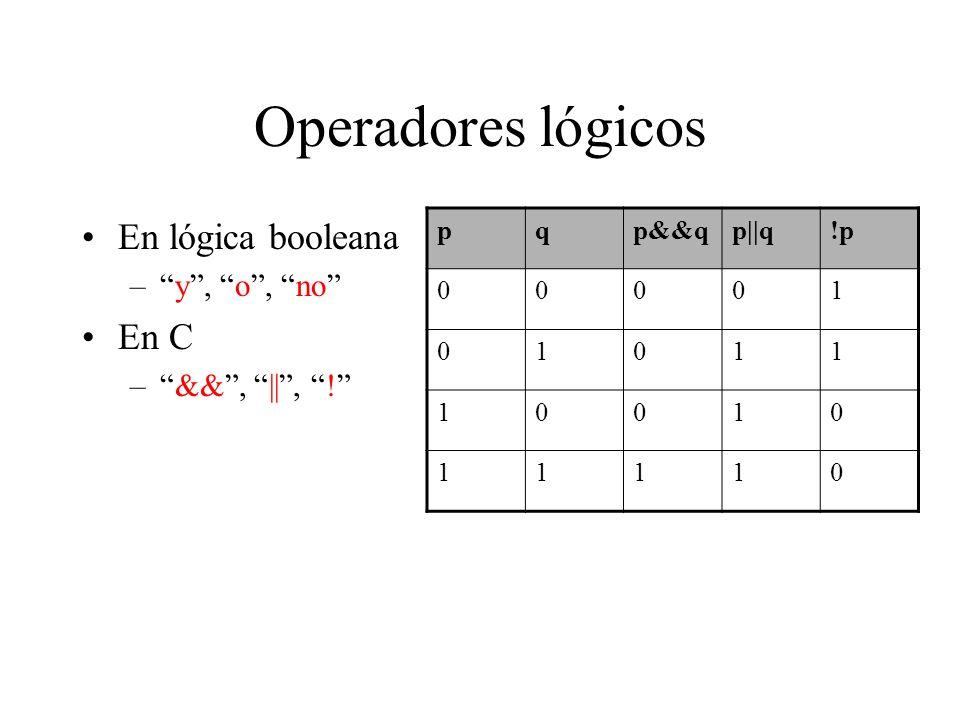 Operadores lógicos En lógica booleana En C y , o , no