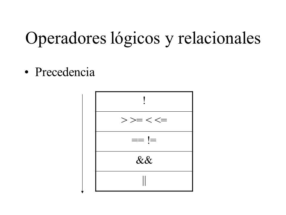 Operadores lógicos y relacionales