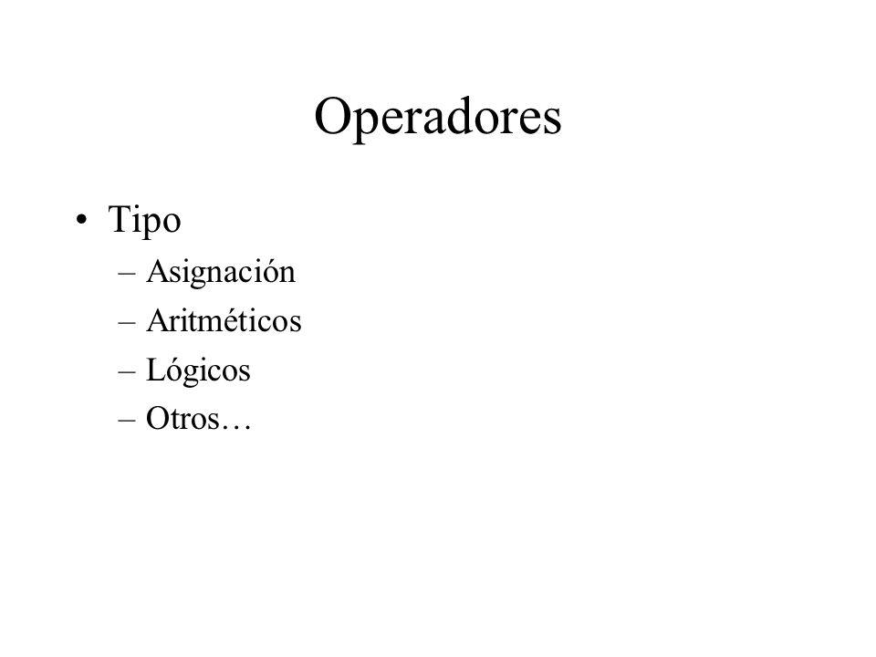 Operadores Tipo Asignación Aritméticos Lógicos Otros…