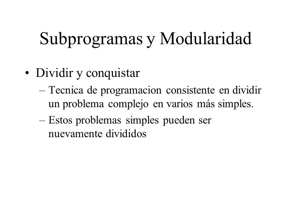 Subprogramas y Modularidad