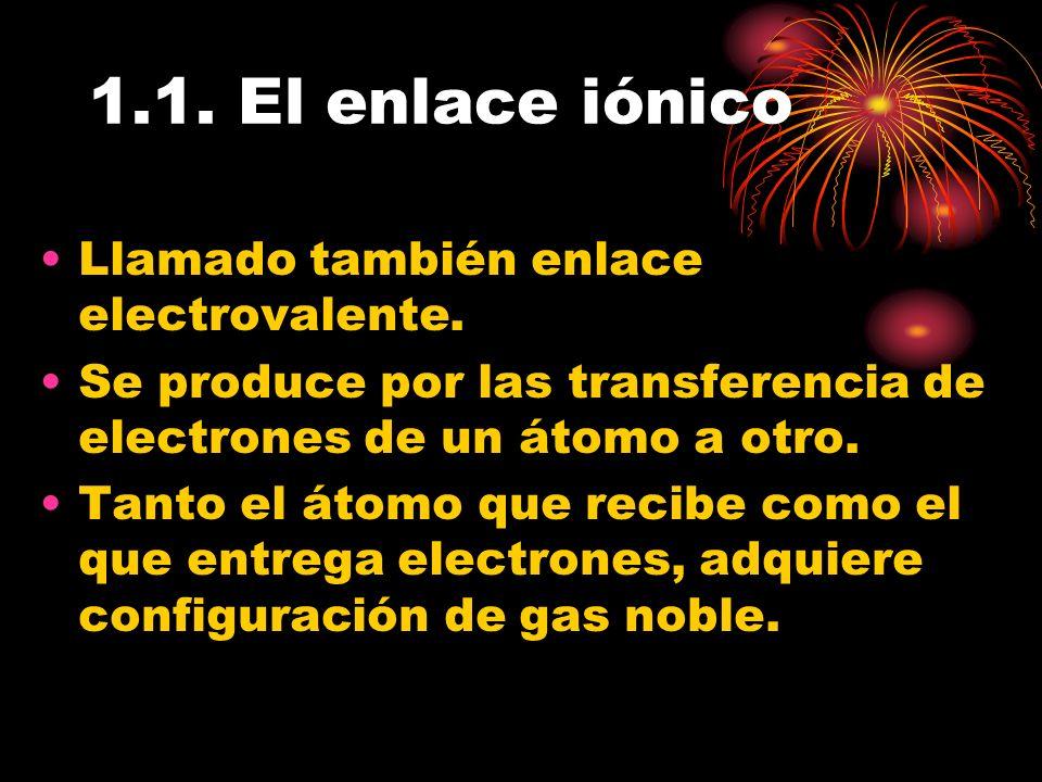 1.1. El enlace iónico Llamado también enlace electrovalente.