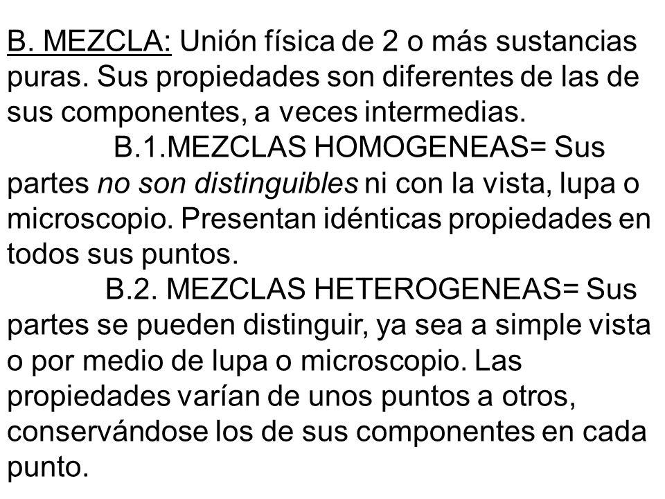 B. MEZCLA: Unión física de 2 o más sustancias puras