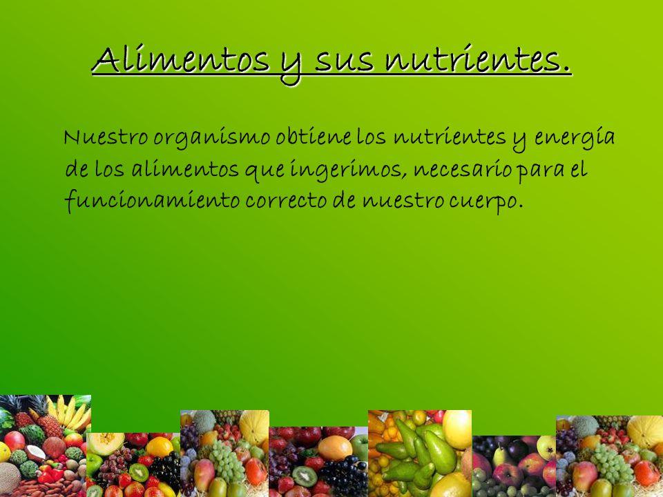 Alimentos y sus nutrientes.