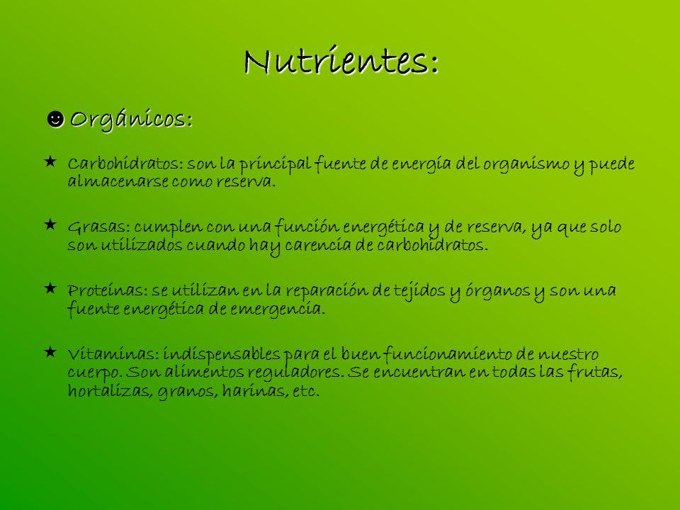 Nutrientes: Orgánicos:
