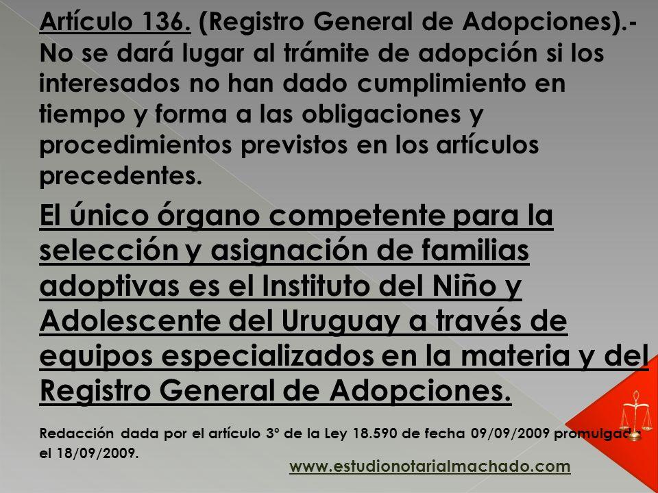 Artículo 136. (Registro General de Adopciones)