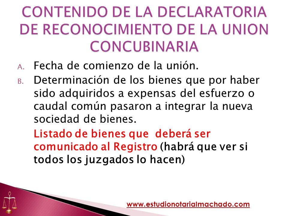 CONTENIDO DE LA DECLARATORIA DE RECONOCIMIENTO DE LA UNION CONCUBINARIA