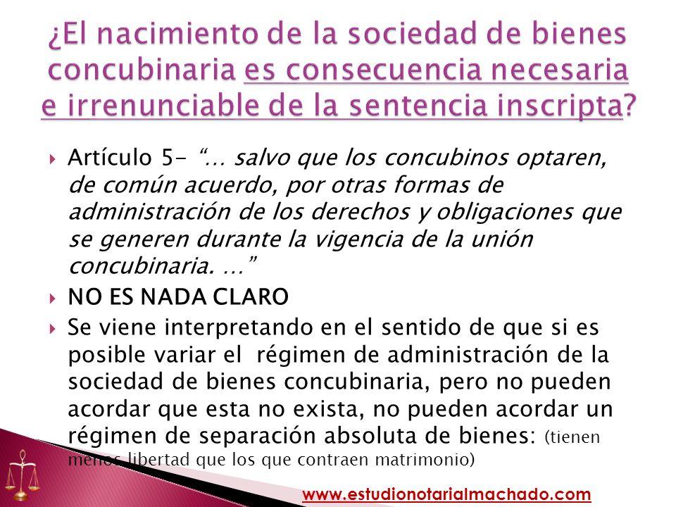 ¿El nacimiento de la sociedad de bienes concubinaria es consecuencia necesaria e irrenunciable de la sentencia inscripta