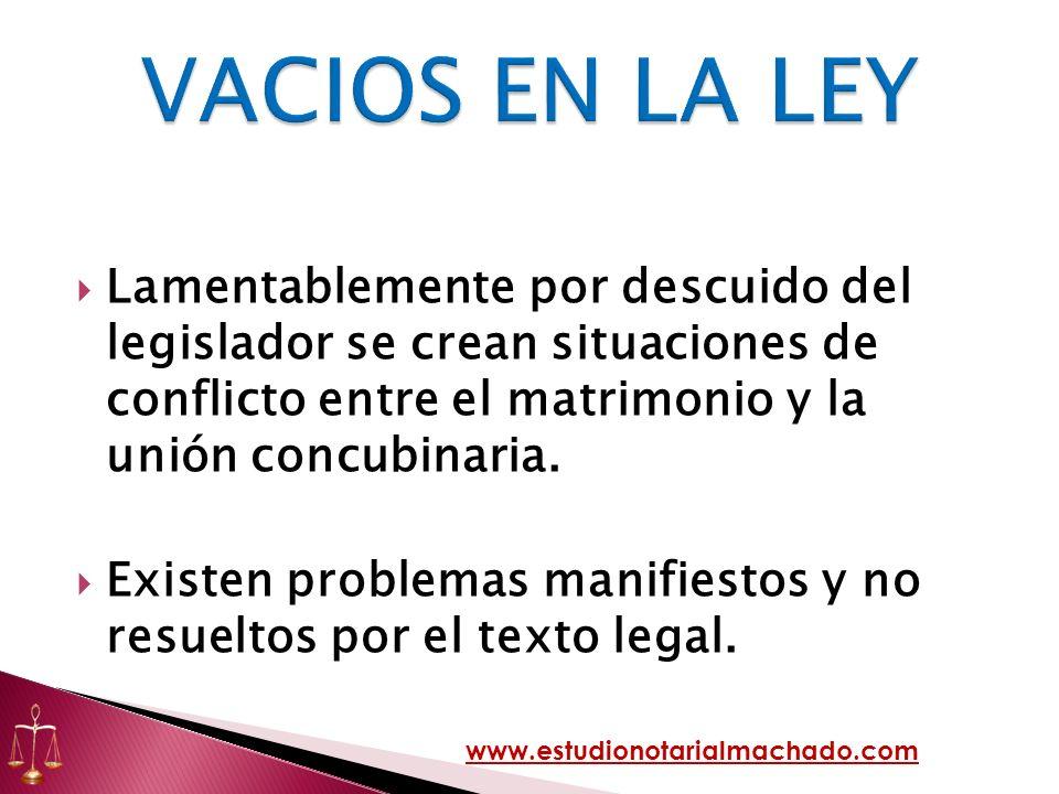 VACIOS EN LA LEY Lamentablemente por descuido del legislador se crean situaciones de conflicto entre el matrimonio y la unión concubinaria.