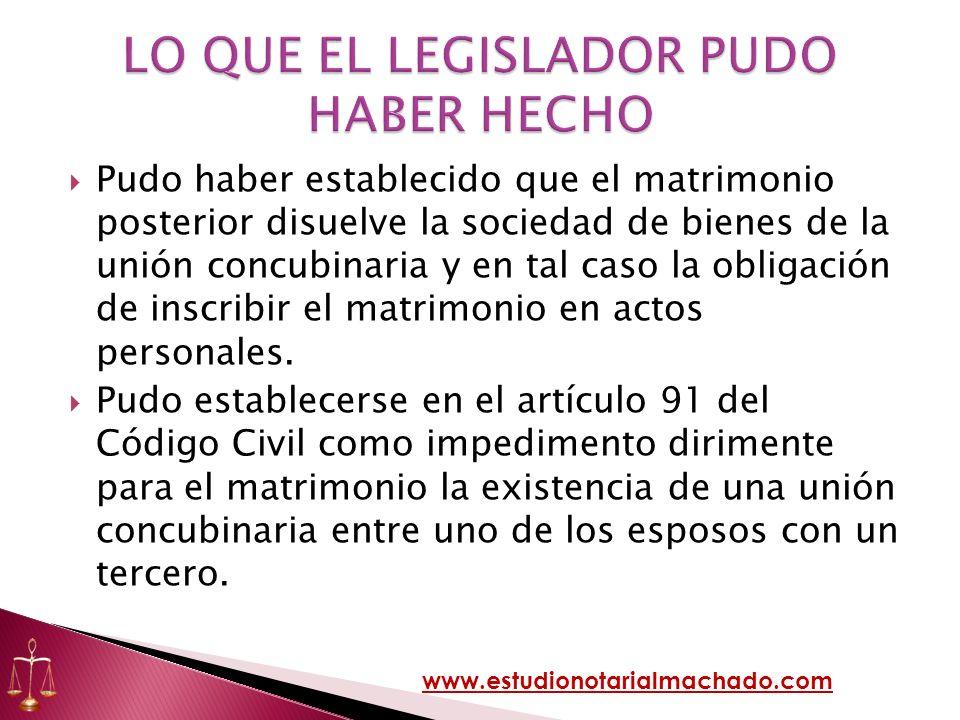 LO QUE EL LEGISLADOR PUDO HABER HECHO