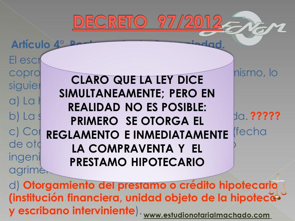 DECRETO 97/2012 Artículo 4°. Reglamento de Copropiedad.