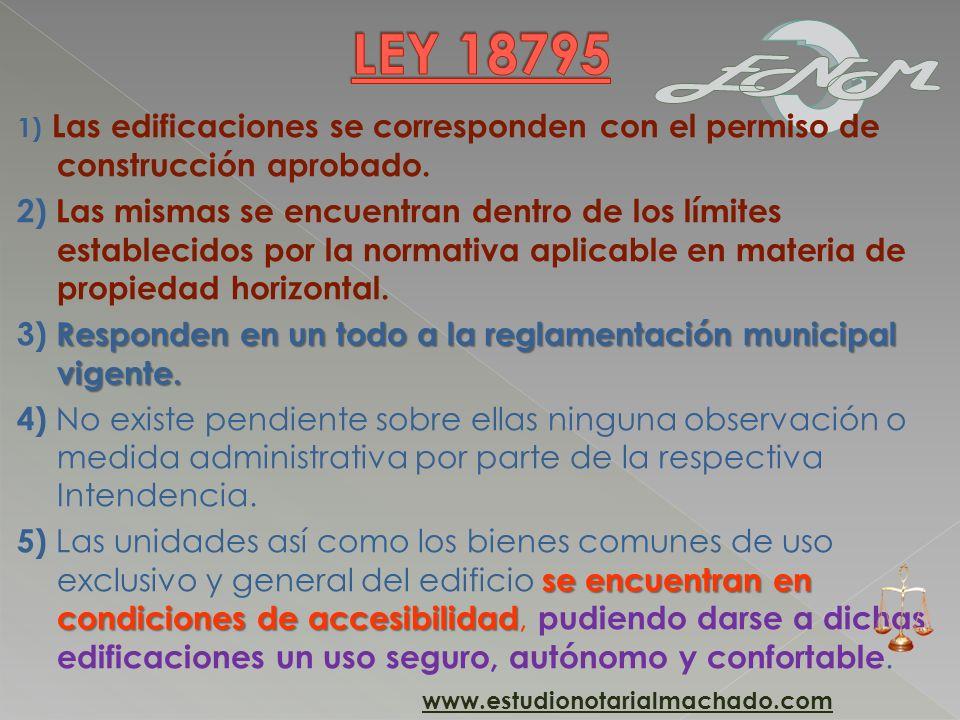 LEY 187951) Las edificaciones se corresponden con el permiso de construcción aprobado.
