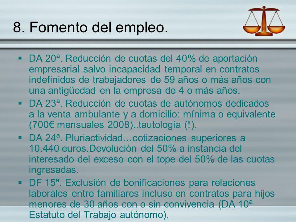 8. Fomento del empleo.