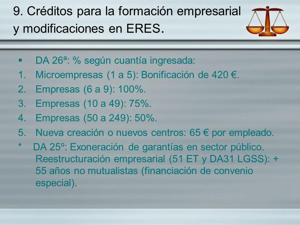 9. Créditos para la formación empresarial y modificaciones en ERES.