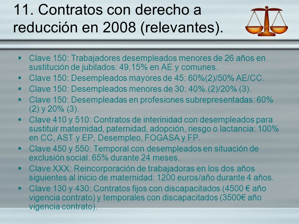 11. Contratos con derecho a reducción en 2008 (relevantes).