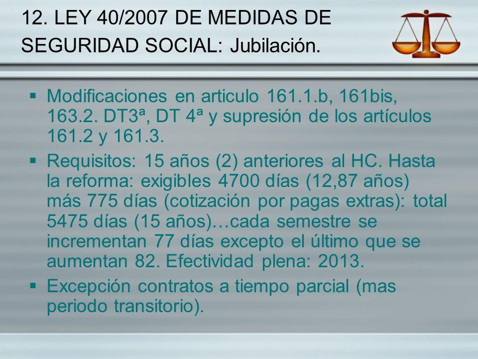 12. LEY 40/2007 DE MEDIDAS DE SEGURIDAD SOCIAL: Jubilación.
