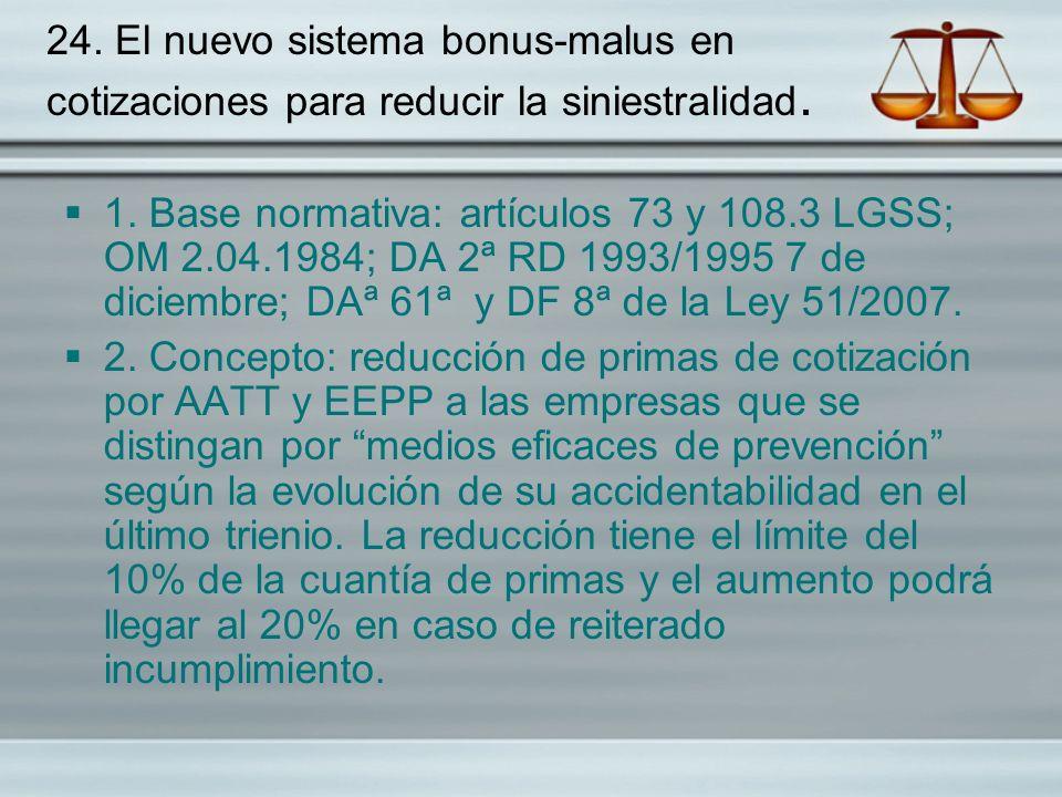 24. El nuevo sistema bonus-malus en cotizaciones para reducir la siniestralidad.