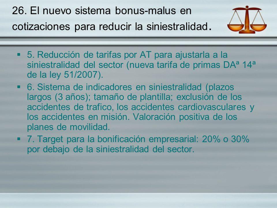 26. El nuevo sistema bonus-malus en cotizaciones para reducir la siniestralidad.