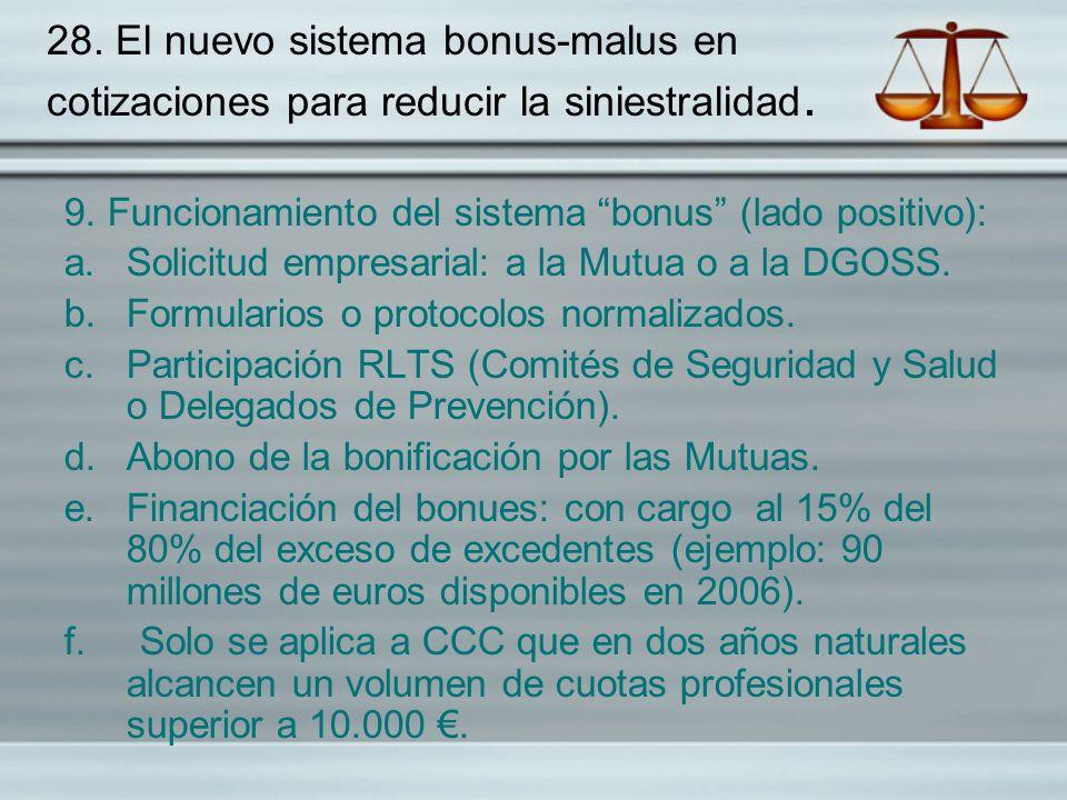 28. El nuevo sistema bonus-malus en cotizaciones para reducir la siniestralidad.