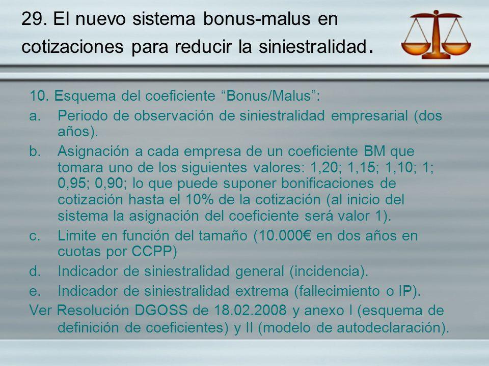 29. El nuevo sistema bonus-malus en cotizaciones para reducir la siniestralidad.
