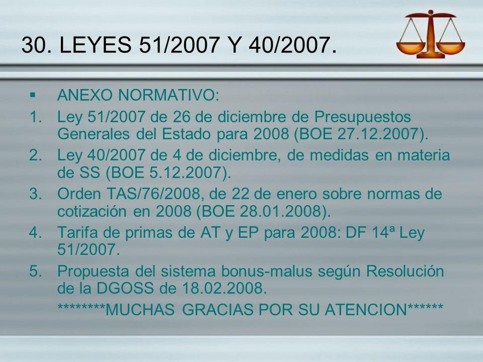 30. LEYES 51/2007 Y 40/2007. ANEXO NORMATIVO: