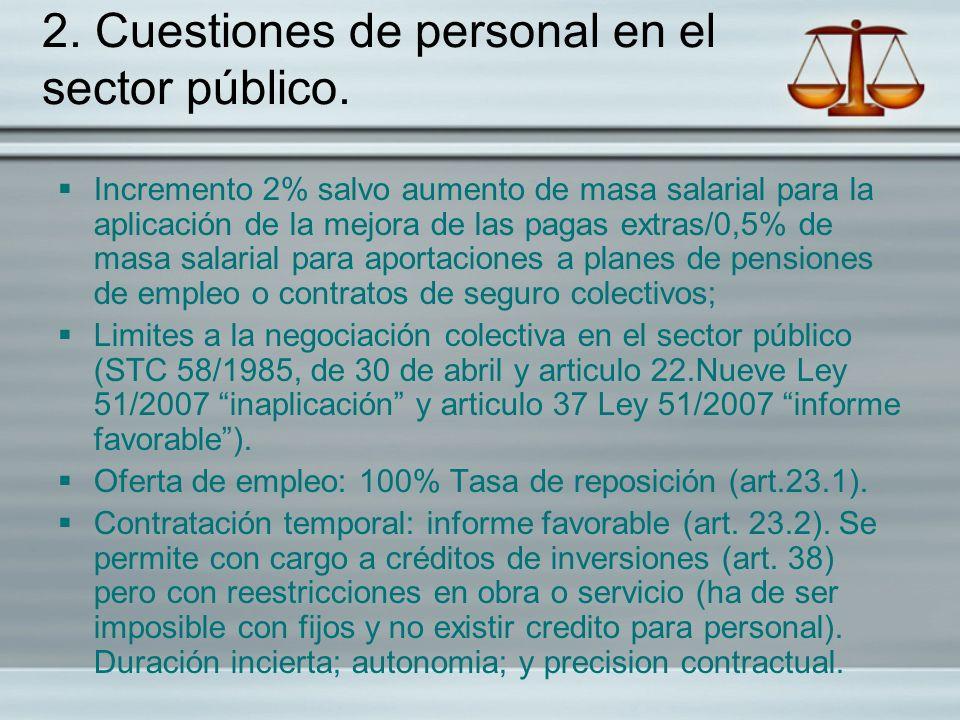 2. Cuestiones de personal en el sector público.