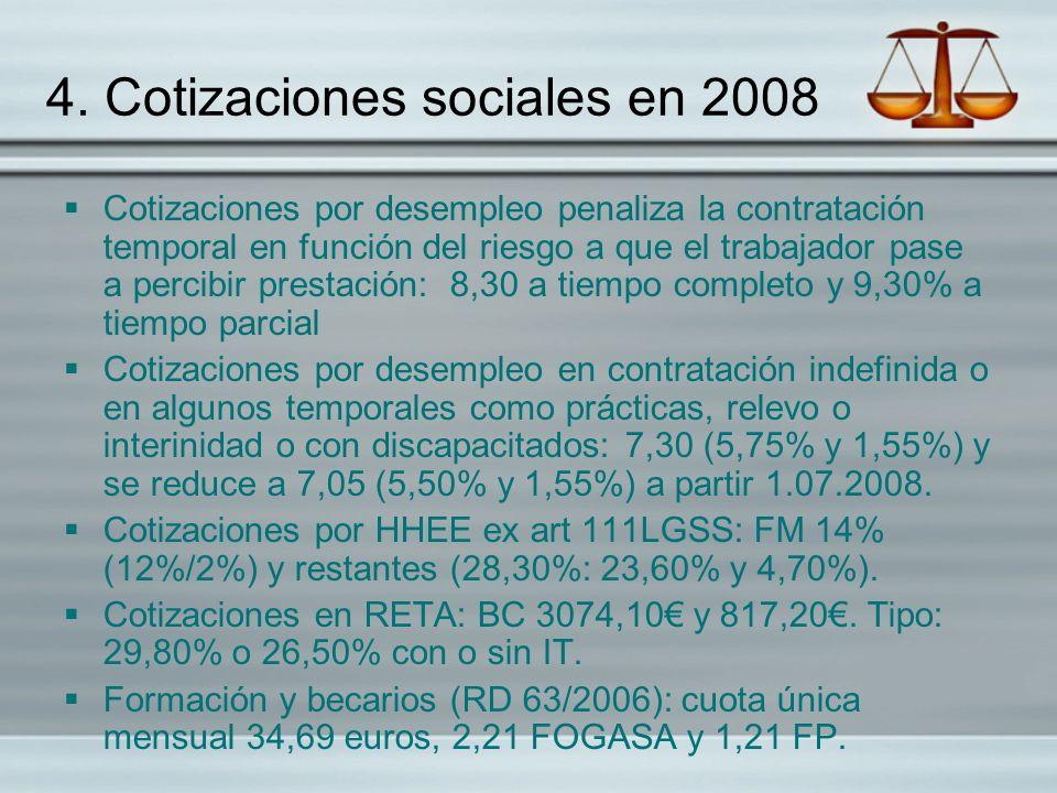 4. Cotizaciones sociales en 2008