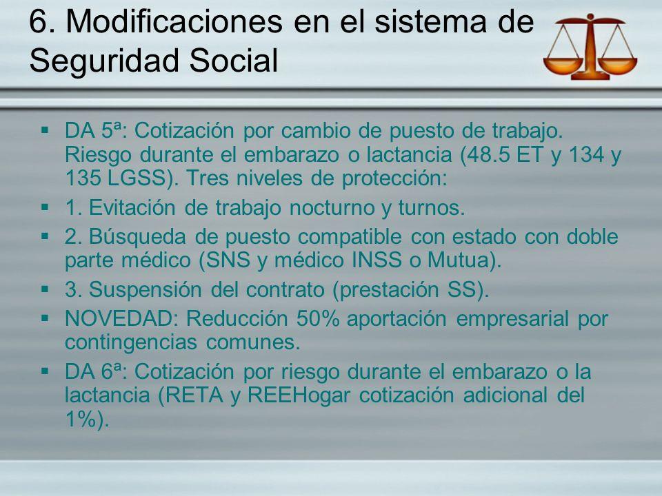 6. Modificaciones en el sistema de Seguridad Social