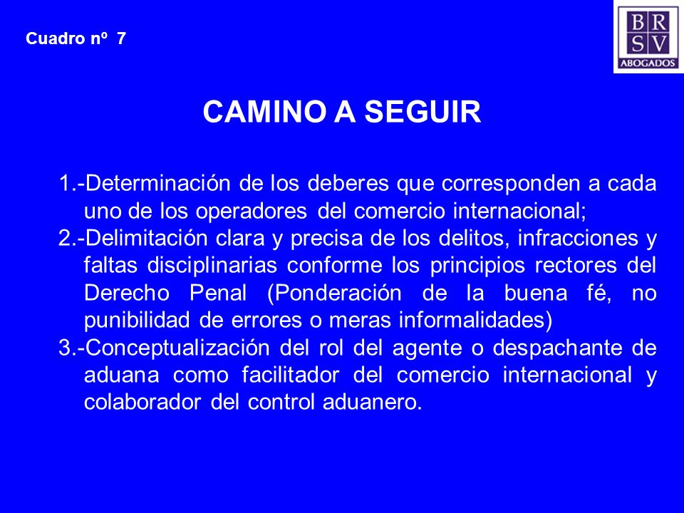 Cuadro nº 7CAMINO A SEGUIR. 1.-Determinación de los deberes que corresponden a cada uno de los operadores del comercio internacional;