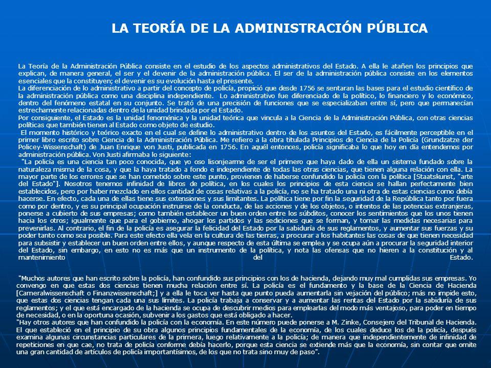 LA TEORÍA DE LA ADMINISTRACIÓN PÚBLICA