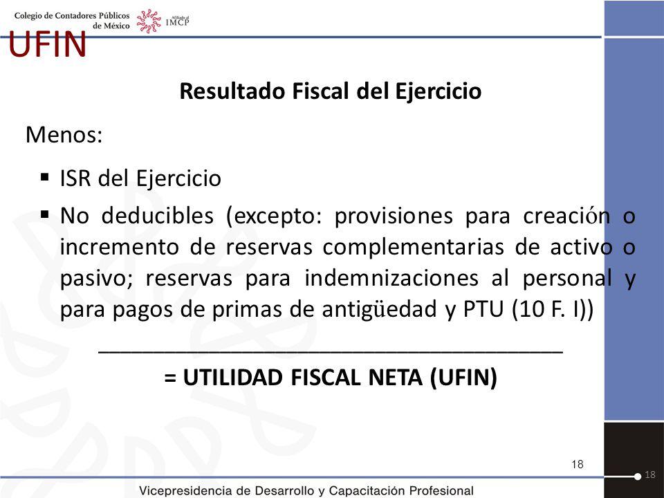 Resultado Fiscal del Ejercicio = UTILIDAD FISCAL NETA (UFIN)