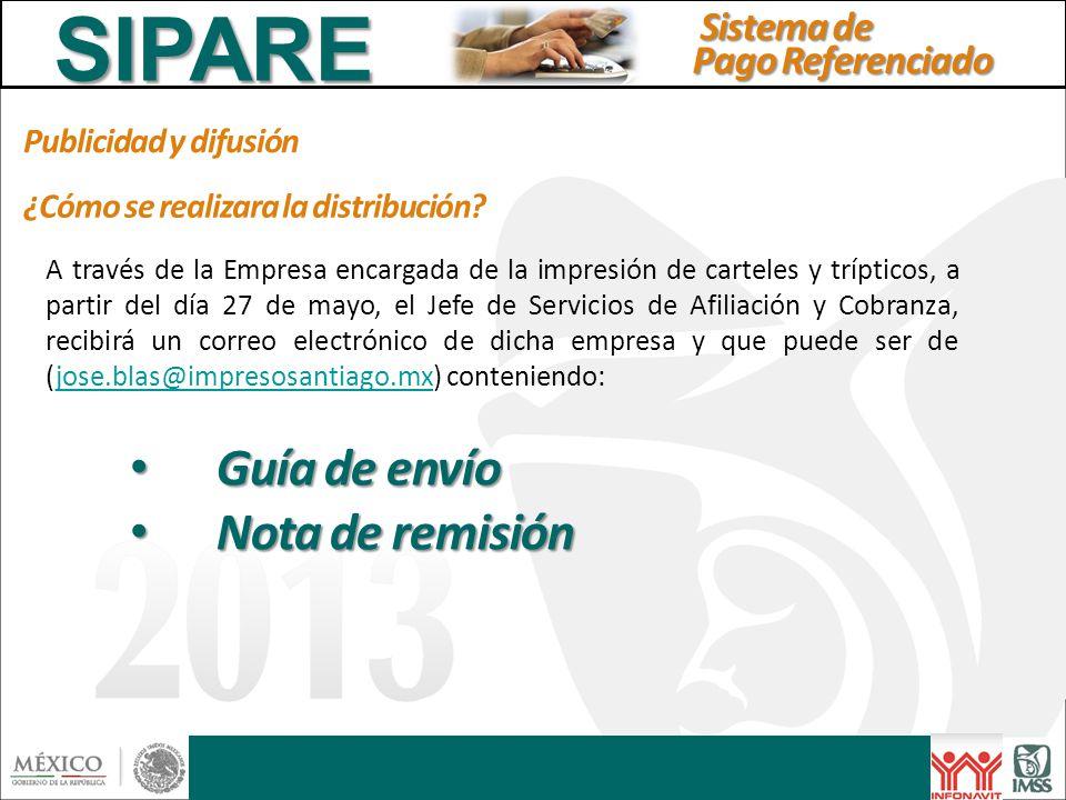 SIPARE Guía de envío Nota de remisión Sistema de Pago Referenciado