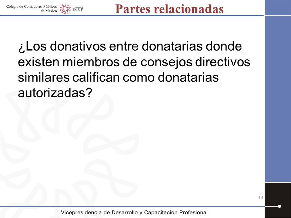 Partes relacionadas ¿Los donativos entre donatarias donde existen miembros de consejos directivos similares califican como donatarias autorizadas