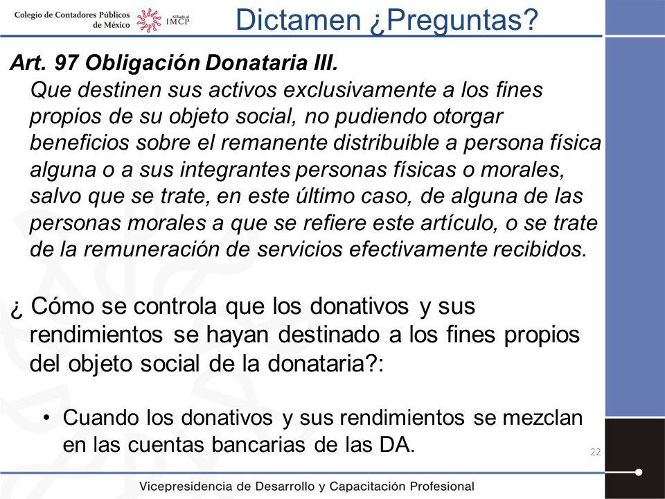Dictamen ¿Preguntas Art. 97 Obligación Donataria III.