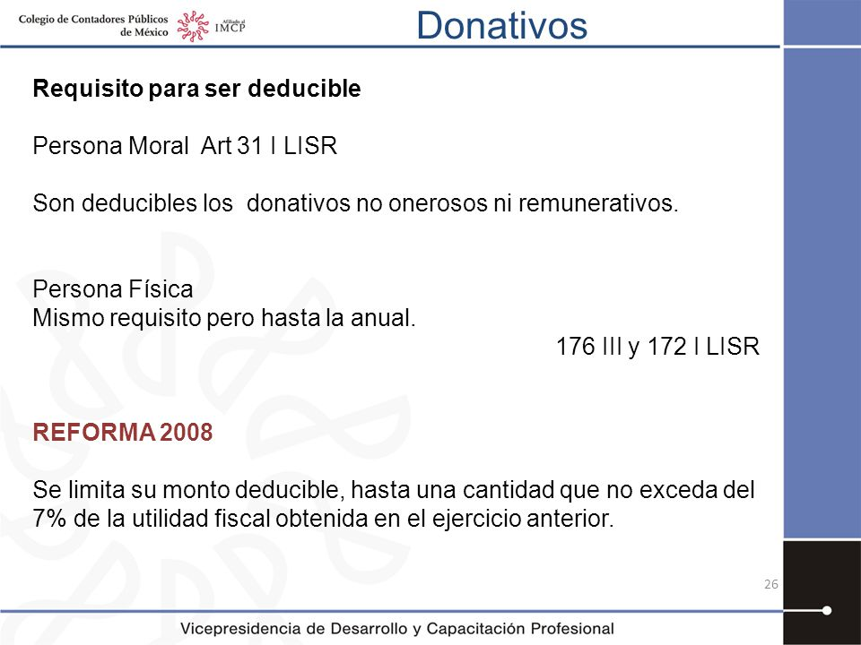 Donativos Requisito para ser deducible Persona Moral Art 31 I LISR