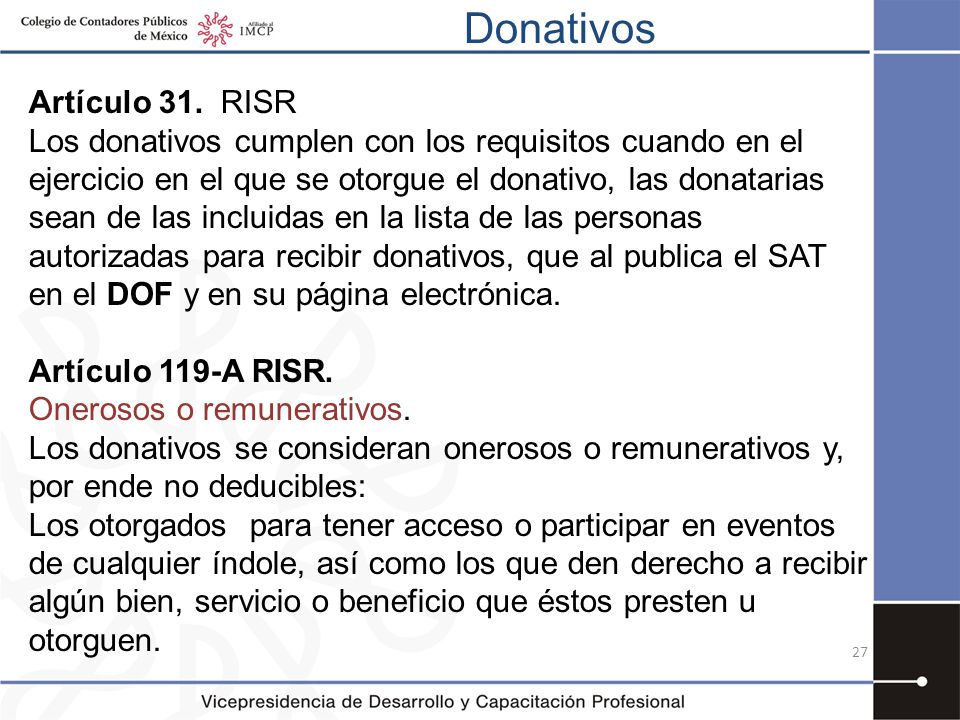 Donativos Artículo 31. RISR