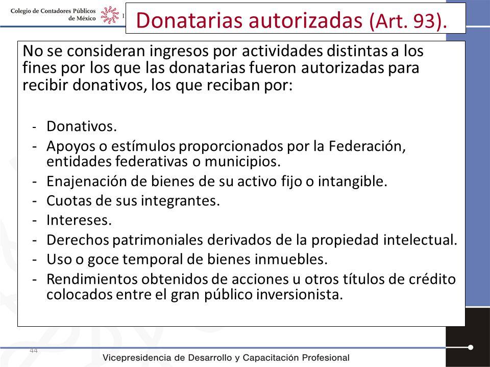 Donatarias autorizadas (Art. 93).