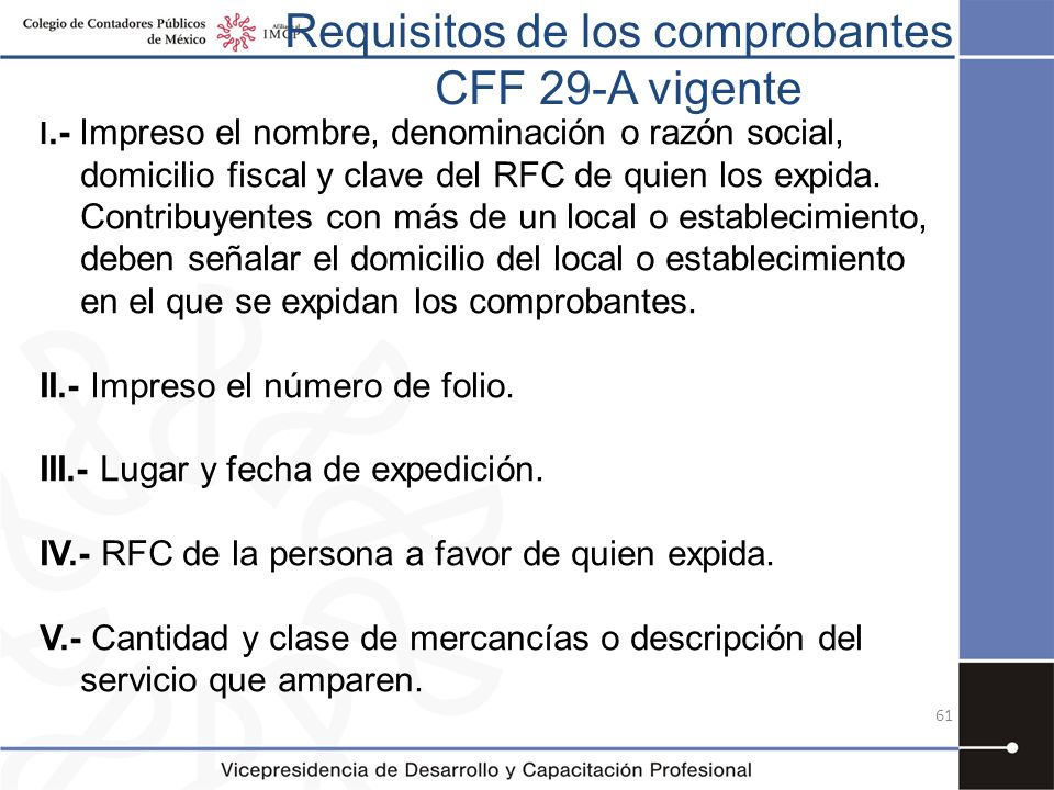 Requisitos de los comprobantes CFF 29-A vigente