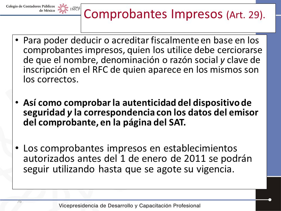Comprobantes Impresos (Art. 29).