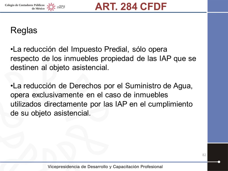 ART. 284 CFDF Reglas.