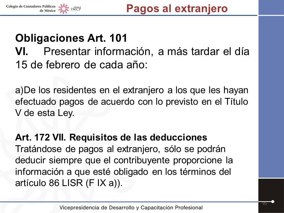 Pagos al extranjero Obligaciones Art. 101